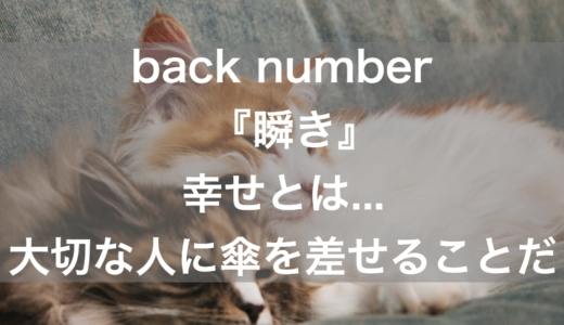 back number『瞬き』幸せとは...大切な人に傘を差せることだ【音楽の名言】