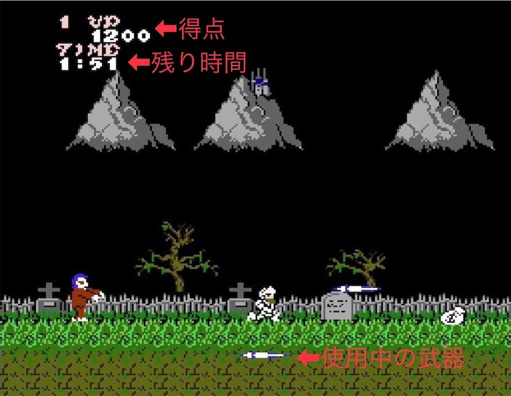 ファミコン『魔界村』画面の見方