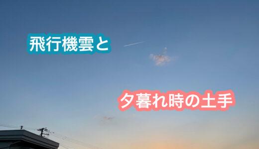 飛行機雲と夕暮れ時の土手